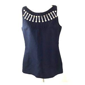 Tory Burch Blue Silk Blend Sleeveless Top Size 12